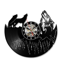 Hollow Wolf Pictures LED Vinyl Record Clock Unique Bedroom Kitchen Wall Decor Gift Ideas Men and Women Cool Unique Antique Clock