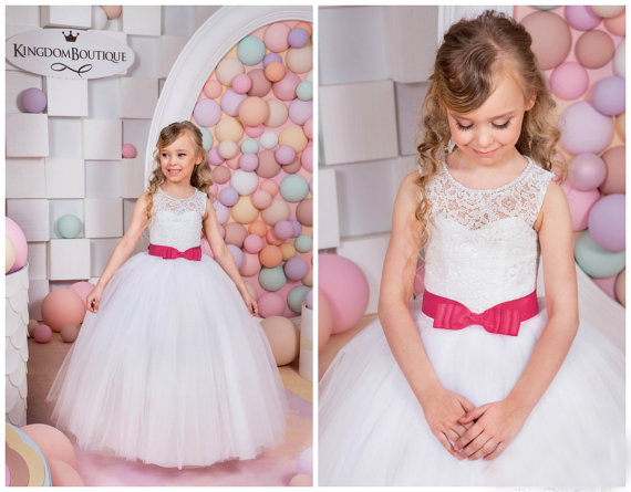 New White Flower Girls Dresses For Wedding Gowns Red Belt Party Dress Tulle Pageant Dress Lace Mother Daughter Dresses For Girls lace design white flower rose invitation card kit for wedding paper blank printing invitations cards set party festivals invite