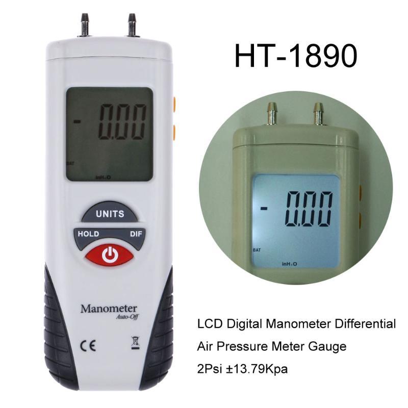LCD Digital Manometer Differential Air Pressure Meter Gauge 2Psi ±13.79Kpa