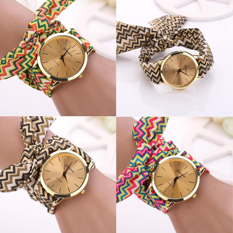 Scolour Fashion Women Aztec Tribal Floral Cloth Quartz Dial Wristwatch Female Clock Quartz-watch Dress Watch Relogio Feminino#77 стоимость