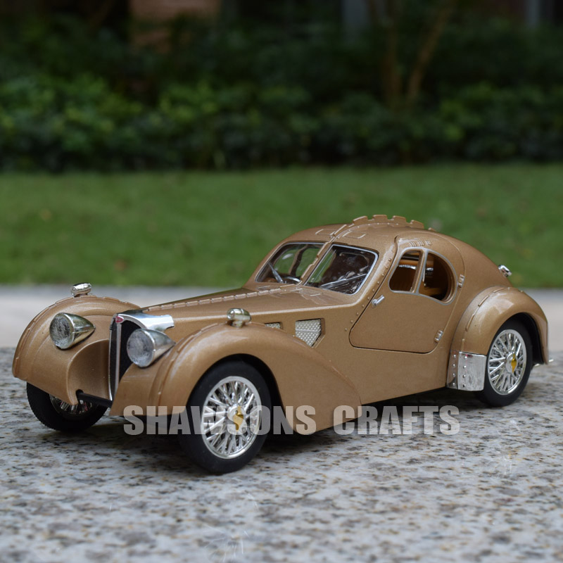 1:28 DIECAST MODEL TOYS VINTAGE CARS PULL BACK BUGATTI TYPE 57 SOUND ...