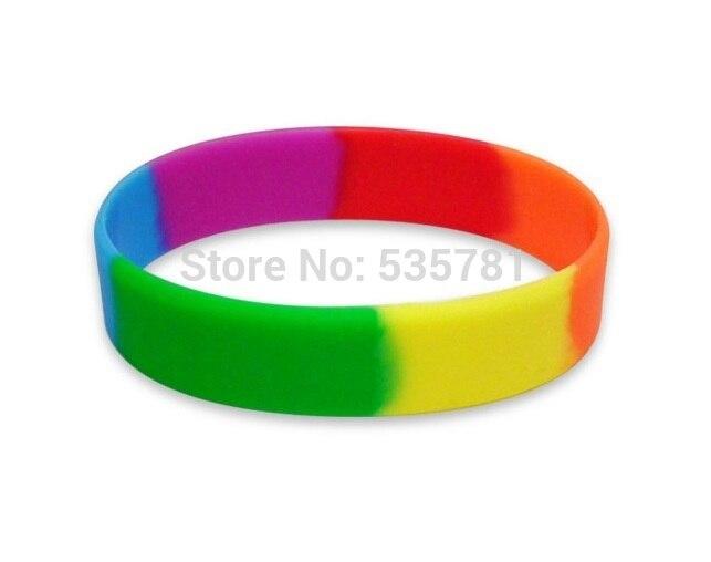100pcs Six Color Gay Pride Rainbow Colour Wristband Adult Silicon Bracelet Wholesale Promotional Gifts Br052