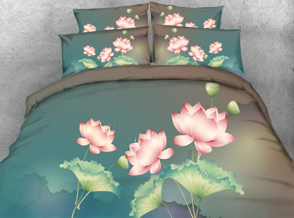 3D Printed Comforter Bedding Sets Twin Full Queen Super Cal King Size Bed Duvet Covers Bedclothes Classical Pink Lotus Flowers3D Printed Comforter Bedding Sets Twin Full Queen Super Cal King Size Bed Duvet Covers Bedclothes Classical Pink Lotus Flowers