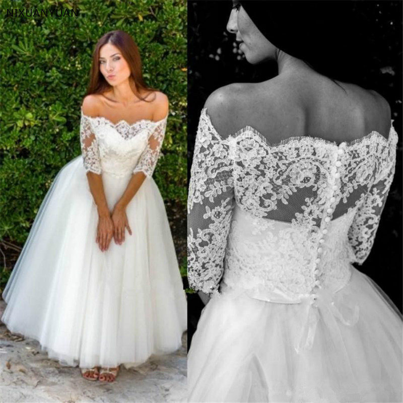 2019 Vintage Half Sleeve Off Shoulder Lace Tulle A Line