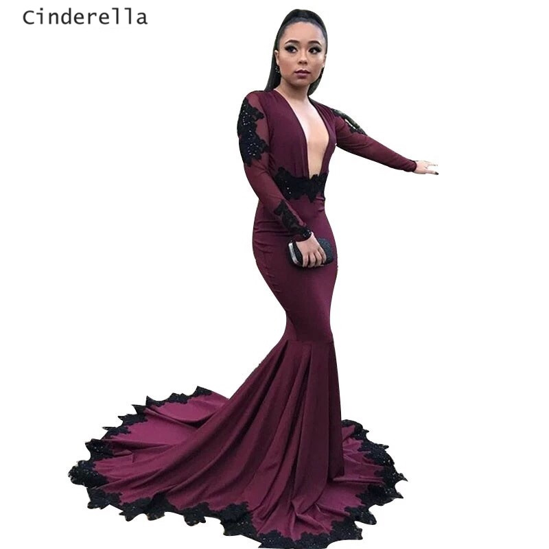 Cinderella Sexy Burgundy V-Neck Long Sleeves Mermaid Spandex Lace Applique Crystal Pregnant Woman   Prom     Dresses   Lace   Prom   Gown
