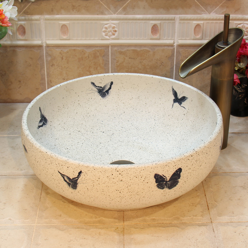 China Artistic Handmade Europe Vintage Lavabo Washbasin Ceramic Bathroom  Sink Counter Top Decorative Bathroom Chinese Wash