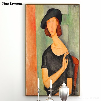 Jeanne Hebuterne Au chapeau Amedeo Modigliani hand made paint Oil Painting Reproduction Print Poster Canvas Wall Art Home Decor image