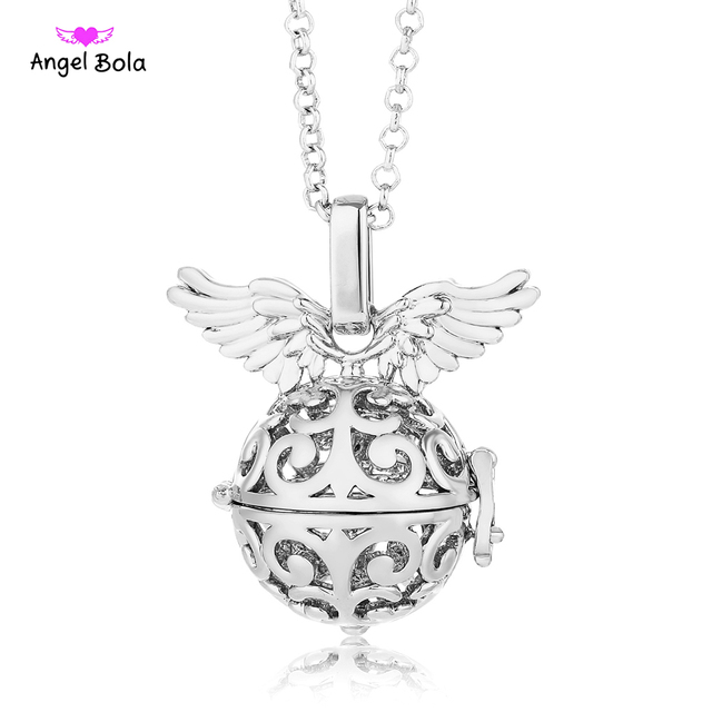 Aroma pendant angel wings cage angel ball maternity metal sound aroma pendant angel wings cage angel ball maternity metal sound bola in long necklace mom pendant aloadofball Gallery