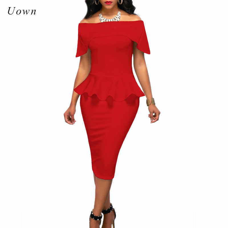 6b86fc37edc Women Off Shoulder Peplum Dress Short Sleeve Slash Neck Ruffle Bodycon Pencil  Dress Wear to Work