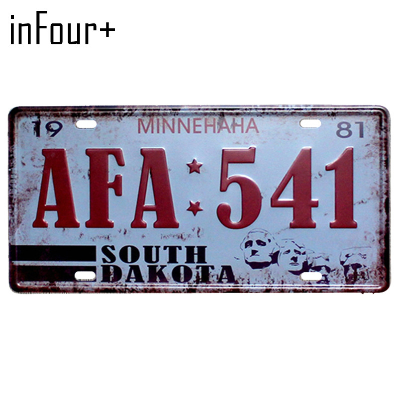 [inFour+] AFA:541 License Plate Metal Plate Car Number Tin Sign Bar Pub Cafe Home Decor Metal Sign Garage Painting Plaques Signs