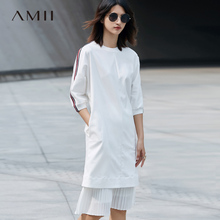 Amii Casual Women Dress 2018 Loose Stripe O Neck Half Sleeve Knee Length Dresses