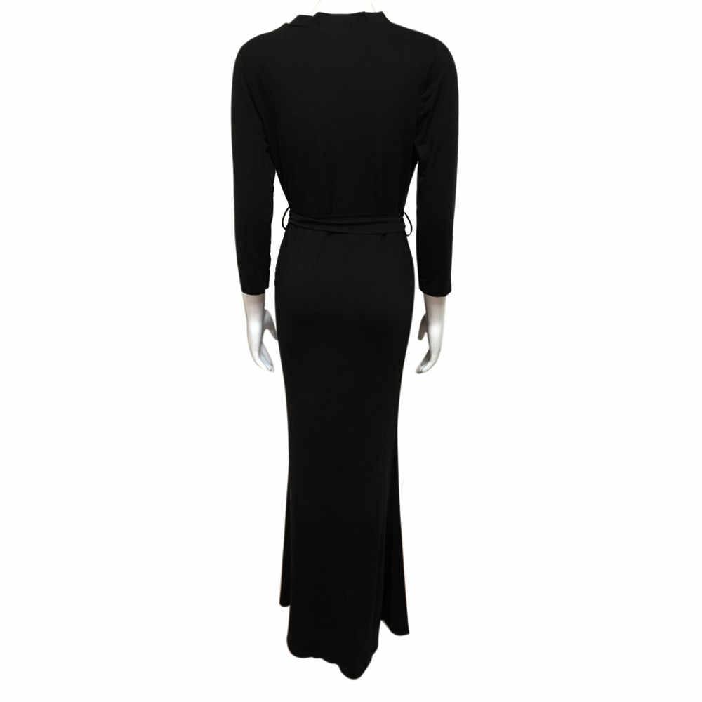 5222fa6304050 Spring Elegant Ladies Long Party Dresses Women Sexy Deep V-Neck Maxi Dress  Summer Womens 3/4 Sleeve Casual Dress Vestidos #Ni