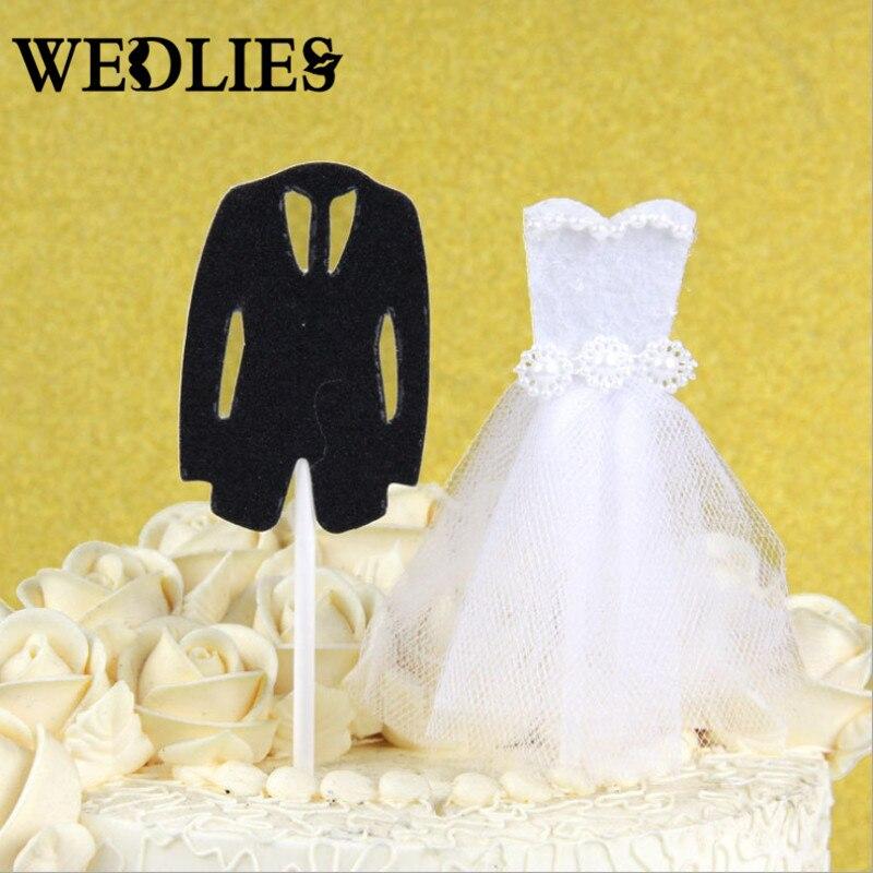 Wedding 1 Pair Bride Gown Groom Suit Cake Topper Dessert Cupcake ...