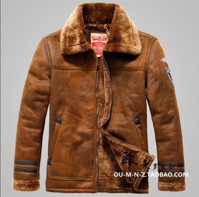 Free shipping Nordic Air Force men's counter genuine thick warm fur PU leather jacket selling high-tech world