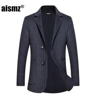 Aismz Winter 67% Double Sided Wool Cashmere Overcoat Jacket Coat Blazer Men Business Casual Slim Fit Coats casaco masculino