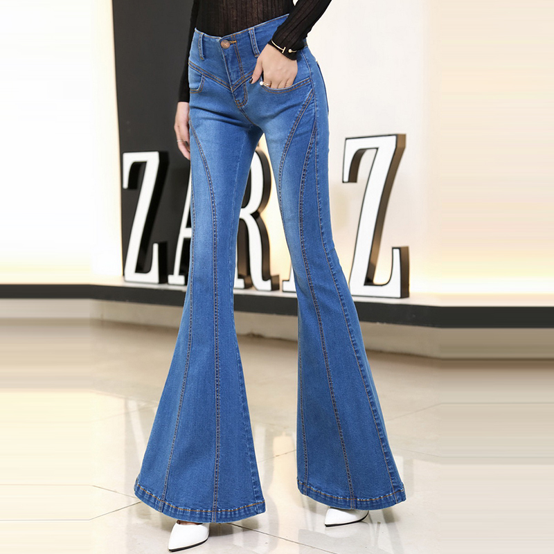 New Arrival High Street Blue High Waist Skinny Denim Flare Pants Summer Stretch Full Length Jeans For Women Jeans Free Shipping