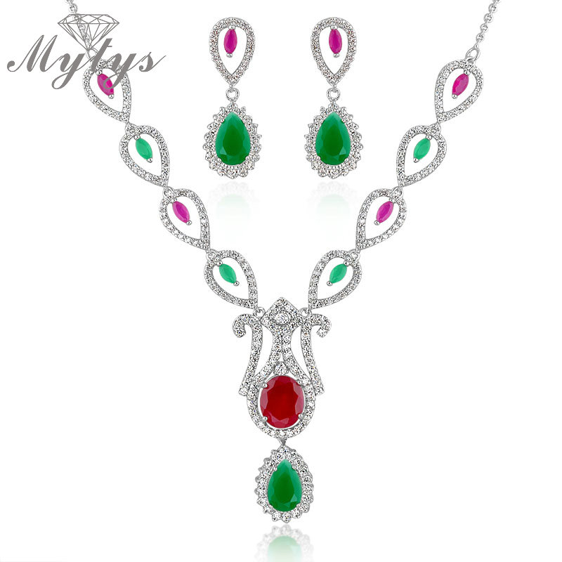 Red and Green High Quality Crystal Pendant Drop Necklace and Earrings Sets Jewelry for Women New Arrival Jewellery sets CN155 viennois new blue crystal fashion rhinestone pendant earrings ring bracelet and long necklace sets for women jewelry sets