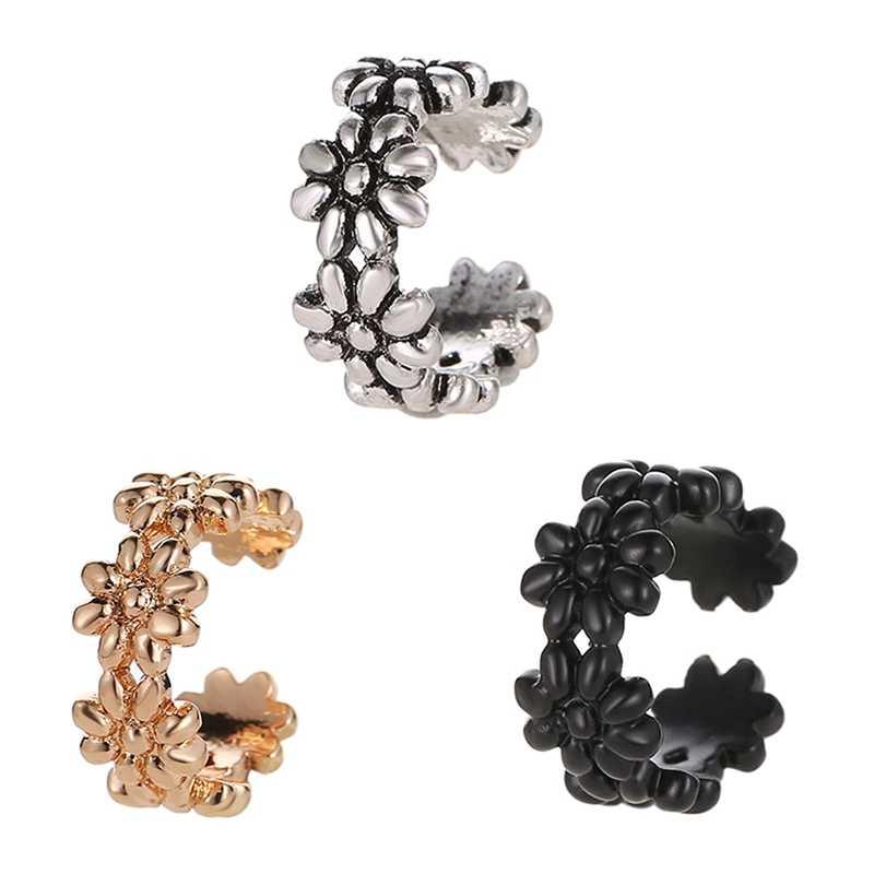 3 renkler Hollow Metalik Çiçek Bağlı Şampanya Altın ve Gümüş Kristal Kulak Manşet Moda Kadınlar Klip Küpe