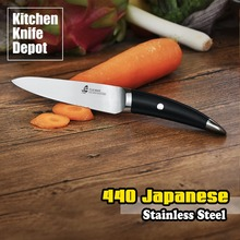TUO Cutlery B&W Series 5″ Utility Knife Slicing Kitchen Cooking Chef Sharp Blade Cut 440 Japanese Stainless Steel Black