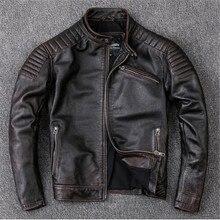 Теплые Одежда, человека натуральная кожа куртки, Модные Винтажные моторный Байкер куртка. красивая теплая куртка