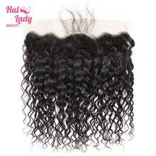 Halo Dame Schönheit PrePlucked Wasser Welle Spitze Vorne Mit Natürlichen Haaransatz Brasilianische Menschliches Haar 13x4 Frontal Verschluss Nicht remy