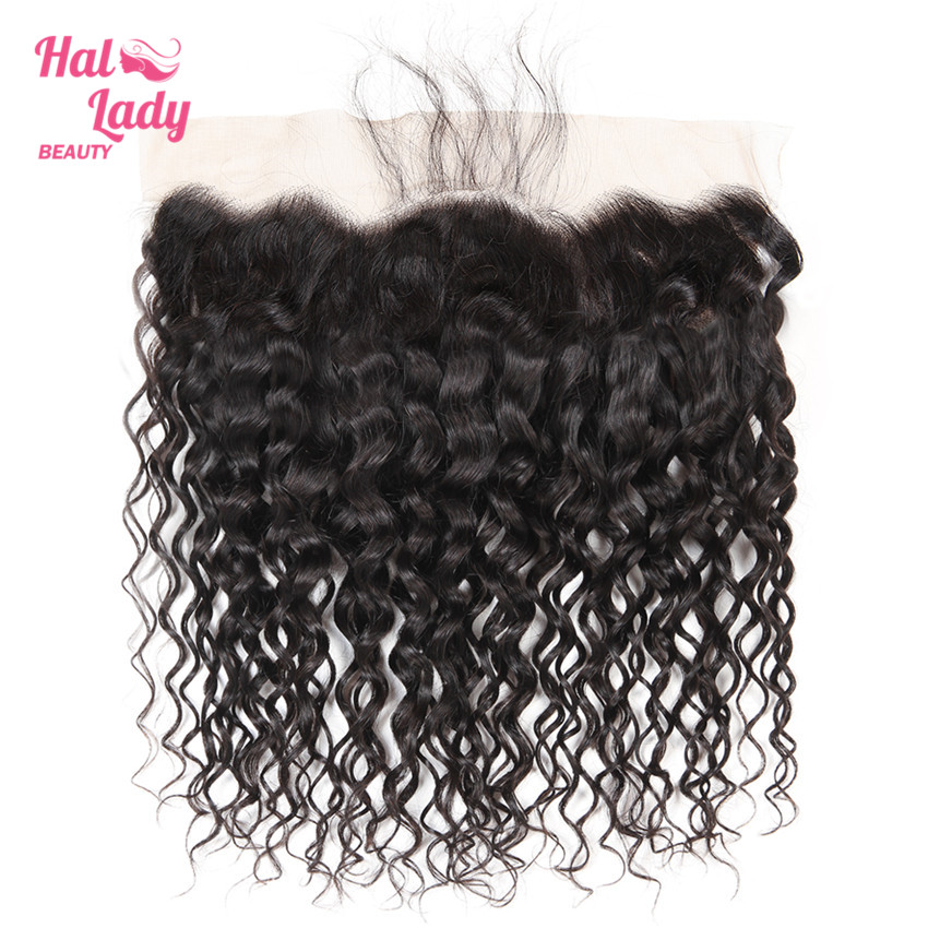 Halo Lady Beauty PrePlucked Water Wave Lace Front With Natural Hairline Brazilian Human Hair 13x4 Frontal Closure Non Remy