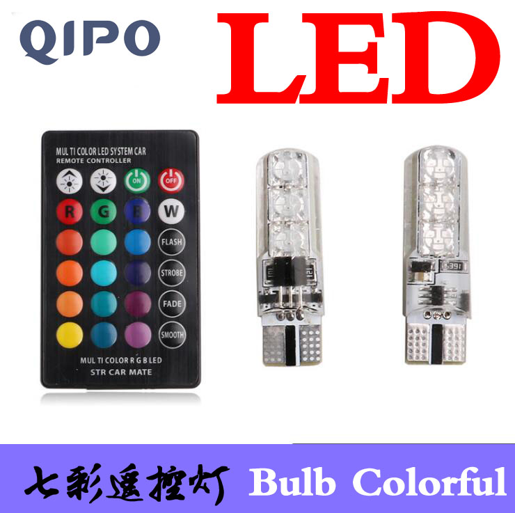 QIPO T10 RGB Multi Colors Changing LED Lamp Bulb Colorful Auto Car Interior Light with Control clearance lights Car Decoration tiptop tp t08 big led co2 launcher food class co2 gas led colorful rgb changing anti false triggering insurance 8pcs aa battery