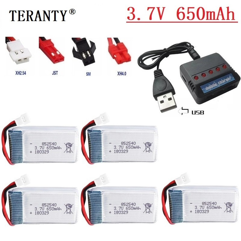 <font><b>3.7v</b></font> 650mah Li-Po <font><b>Battery</b></font> + <font><b>Charger</b></font> Units For Syma X5c X5c-1 X5 H5c RC Quadcopter Spare Parts 852540 Drone Rechargeable <font><b>battery</b></font> image