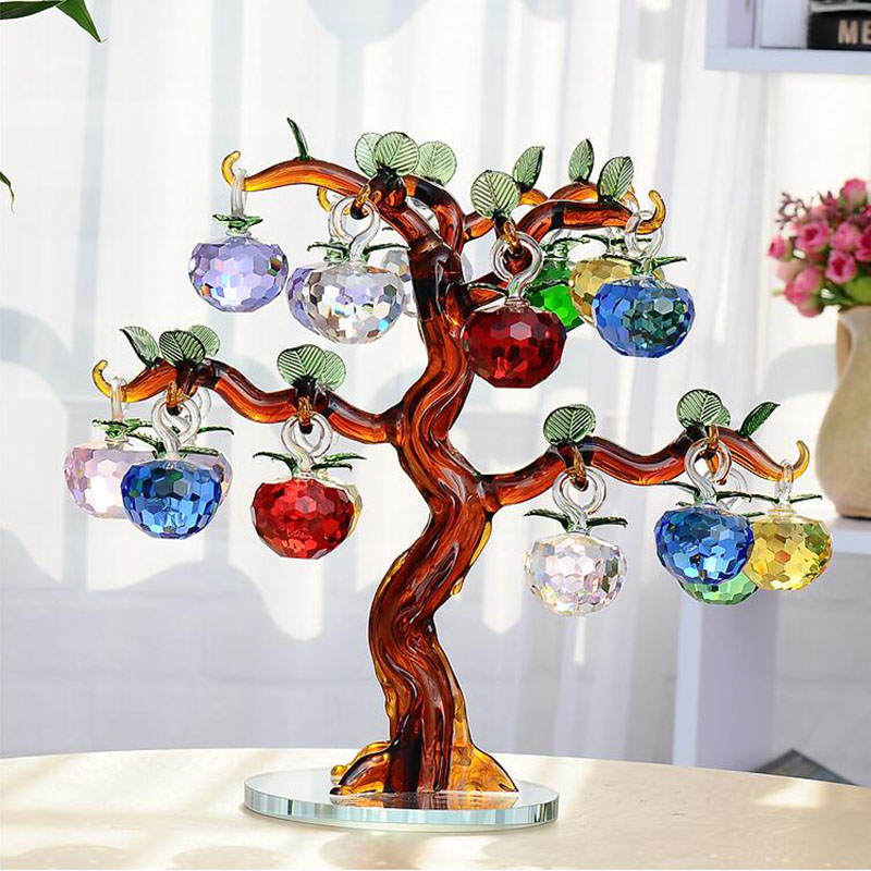 Crystal Glass Apple Tree Ornaments 18pcs Hanging Apples Home Decor Figurines Christmas New Year Crafts Gifts Souvenir Miniatures