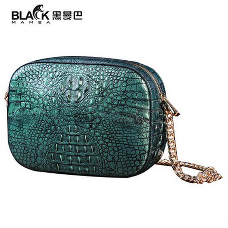 2018 heimanba Crocodile bag female  new small round bag to wipe the golden green alligator skin chain slanting across small bags karen cvitkovich leading across new borders