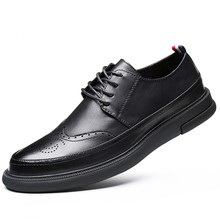 Dropshipping Man Genuine Soft Leather Flat Shoes Lace Up Black Men Casual Shoes Comfortable Man Designer Footwear Shoes DB033