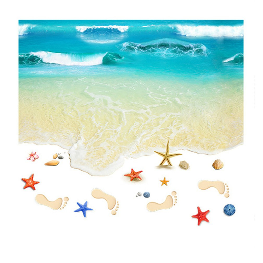 3D Flooring Wall Sticker Beach Pattern Bedroom Kitchen Toilets Floor Painting Self-adhesive Removable Non-Slip Wallpaper