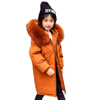 30 Degree Children Russia Winter Jacket for Girls Thick Duck Down Jacket Kids Outerwears Warm Coat Parka Real Fur Girl Clothes