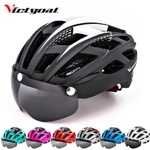цена на VICTGOAL Bike Helmet LED Backlight Bicycle Helmet Men Women Goggles Cycling Helmet Ultralight MTB Road Mountain Bike Helmets