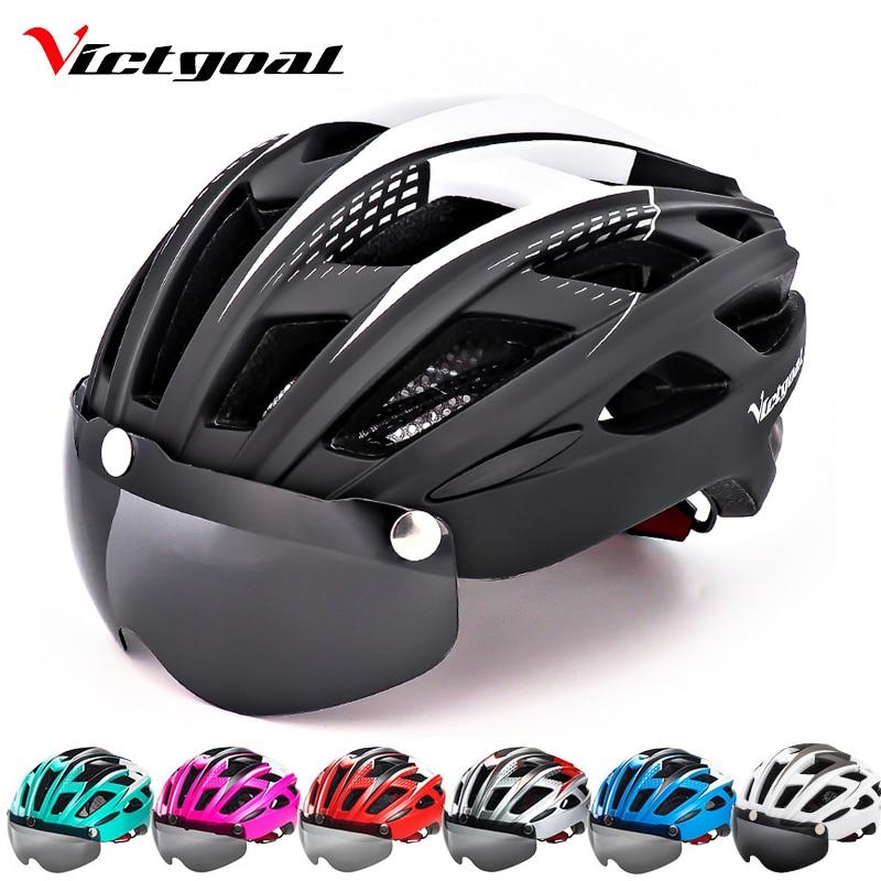 VICTGOAL Vélo Casque LED Rétro-Éclairage Vélo Casque Hommes Femmes Lunettes Casque De Vélo Ultra-Léger VTT Vélo De Route Objectif Visor Casques