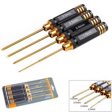 Conjunto de 4 peças de chave de fenda hex rc, titânio, chapeamento, endurecido 1.5 2.0 2.5mm, chave de fenda para helicóptero rc brinquedos rc (1 conjunto)