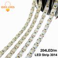 LLEVÓ la Tira 3014 204 LED/metro Impermeable DC12V Blanco/Blanco Cálido Super Brillante Luz LED Flexibles 5 m/lote
