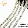 Tira CONDUZIDA 3014 204 LED/metro DC12V Impermeável Branco/Branco Quente Super Bright LED Flexível Luz 5 m/lote
