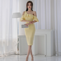Summer solid empire sexy&club Women Dress 2018 slash neck one shoulder buffles sleeve knee length pencil dress