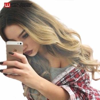 Wignee Fait À La Main Avant Ombre Couleur Longue Blonde Perruques Synthétiques Pour Noir/Blanc Femmes Haute Température Sans Colle Cosplay Cheveux perruques
