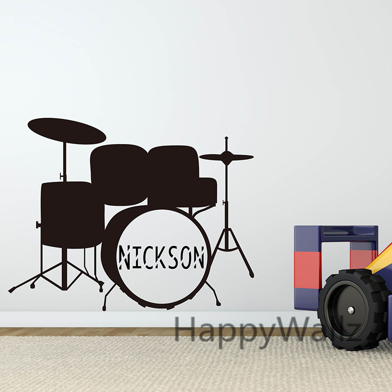 Custom Name Drum Wall Stickers Drum Wall Decals Baby Nursery Name Kids Room Children Wall Decor Removable Easy Wall Art C6