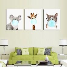 Nordic Cartoon Balloon Giraffe Animal Posters and Prints Art Canvas Painting Nursery Decorative Wall Artwork Kids Decoration буше ф я люблю слова пиши рисуй вырезай и веселись
