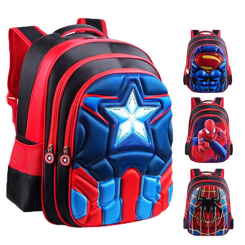 Superman Batman Spiderman Captain America Boy Girl Children Kindergarten School Bag Teenager Schoolbags Kids Student Backpacks(China)