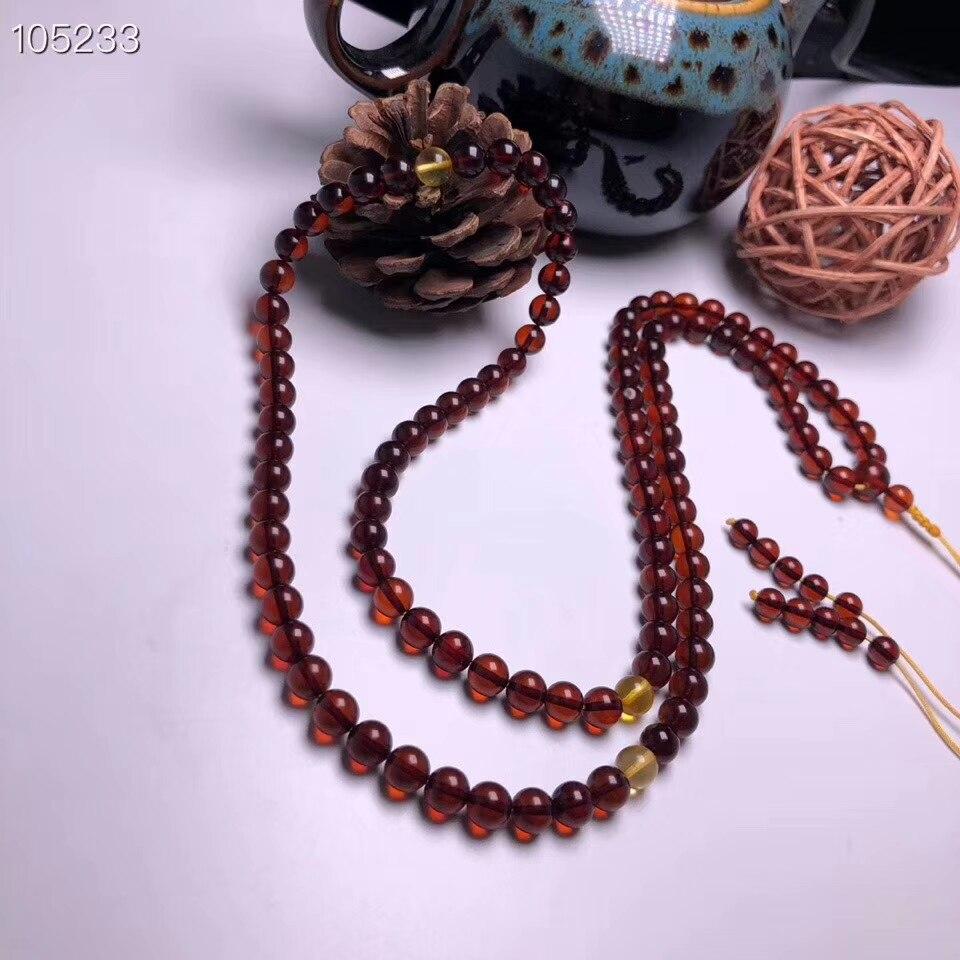 325d70c35526 Certificado 6,6mm sangre Natural ámbar rojo mujeres 108 oración cuentas  redondas pulsera ...