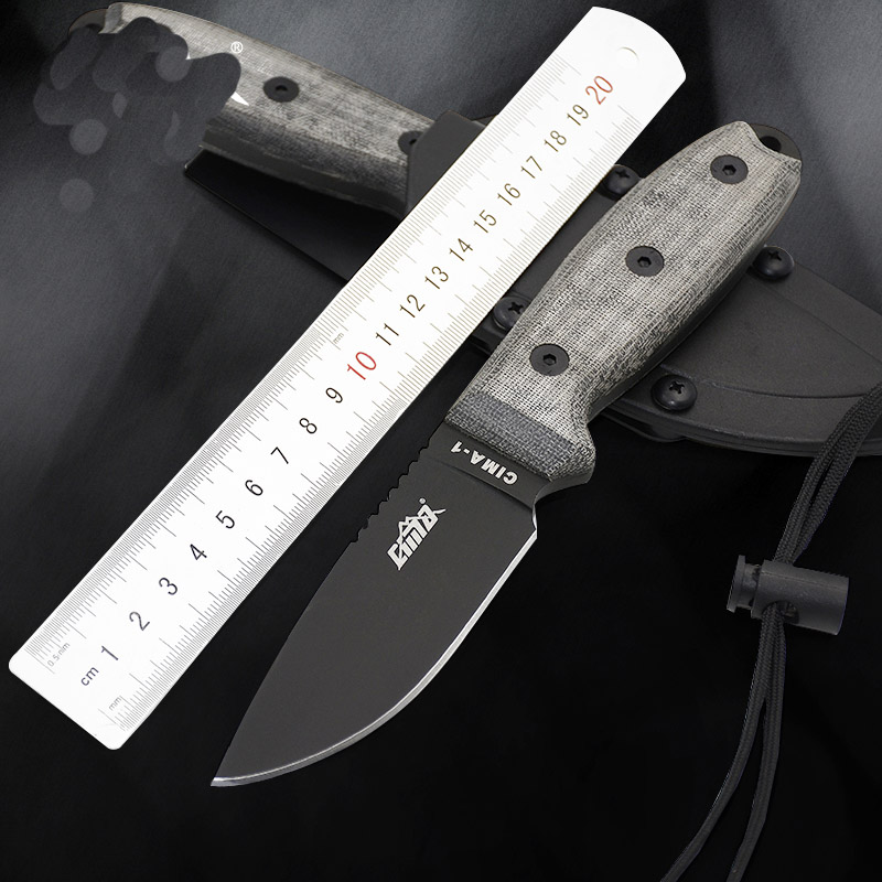 high quality D2 grade stainless steel fixed blade knife 7Cr17 Mov full blade hunting knife camping tool Secure-Ex sheath