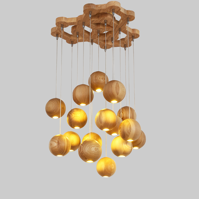 Solid wood modern pendant light Chinese Nordic creative minimalist living room dining wood ball wooden pendant lamp bamboo wooden pendant lamp head wood japanese nordic korean creative dining room pendant lamps zb53