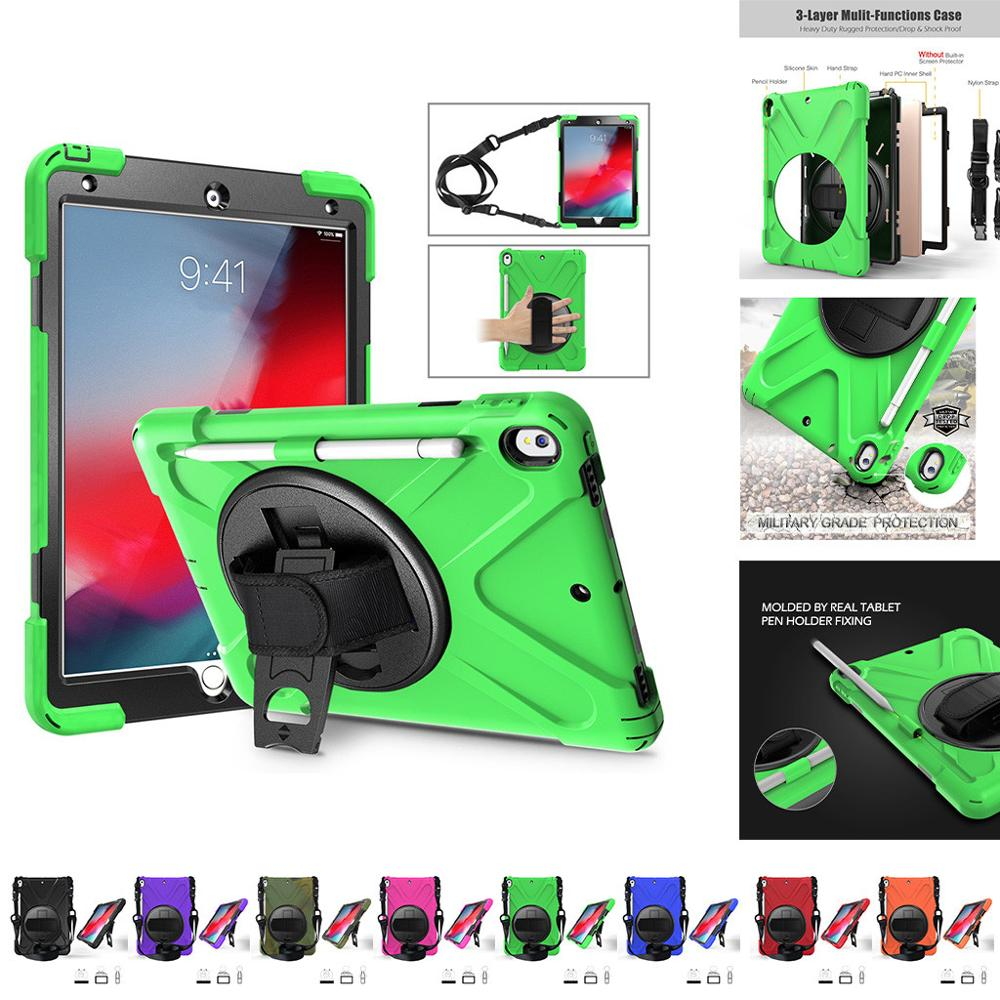 For IPad Air 10.5Inch Case Heavy Duty Hybrid Shock Proof Rotating Hand Strap tablet holder desk Foldable watch movie Q70