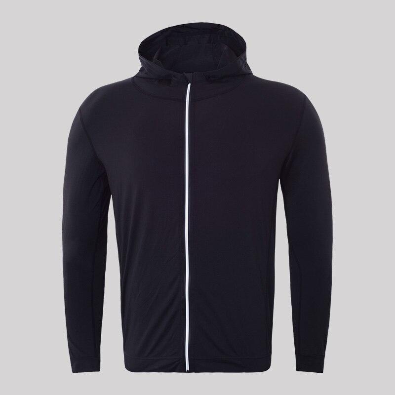 Для мужчин быстросохнущая кепки свитер с капюшоном Спортивная майка сжатия фитнес-плотно Рашгард рубашка Gymming Бодибилдинг куртка для бега VY781 - Цвет: Черный