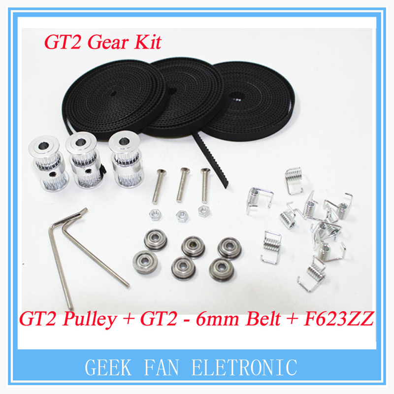 F623ZZ Bearing + Belt GT2 pulley type double headGT2 20teeth 6mm bore 8mm width timing pulley for Delta Rostock Kossel Mini