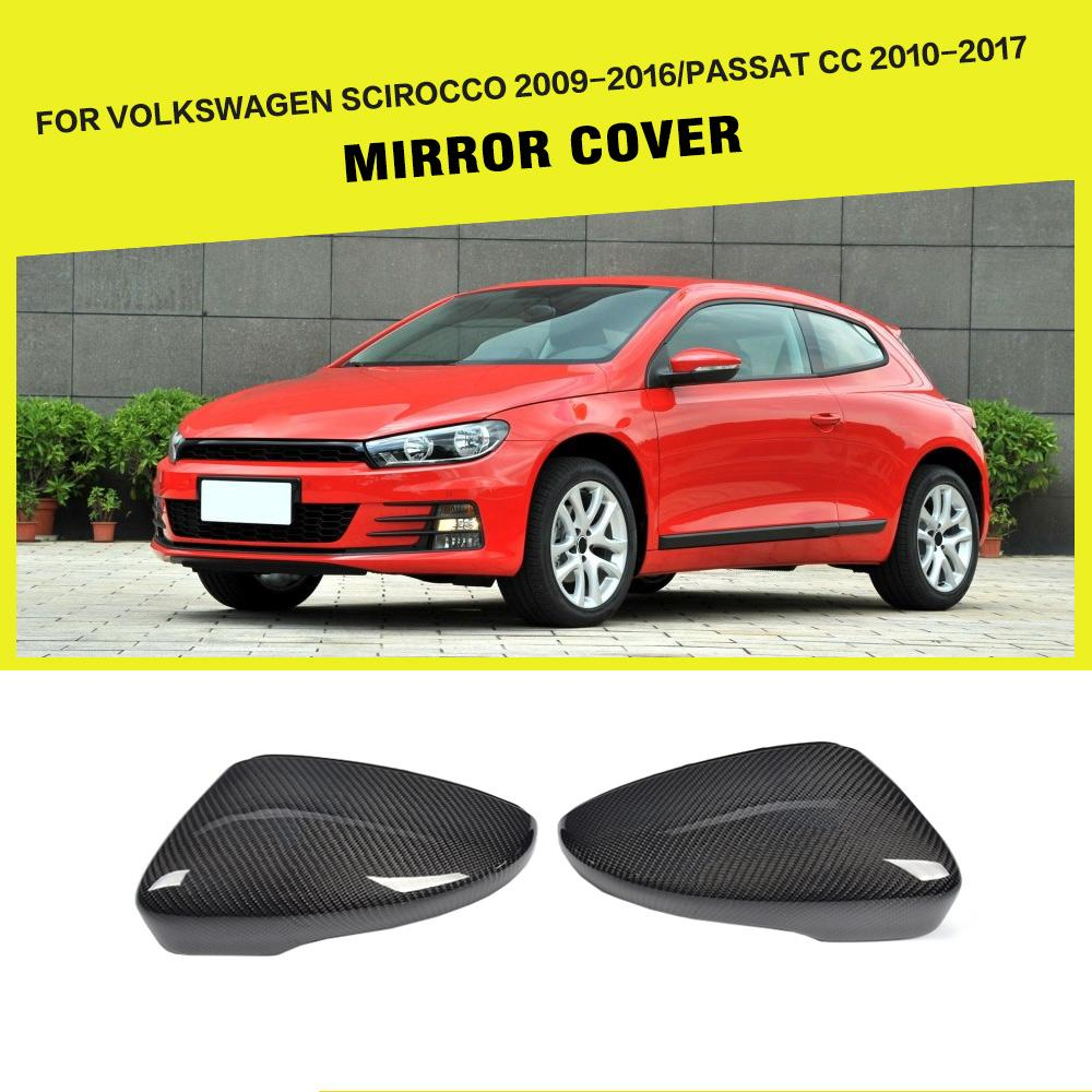 Car-Styling Carbon Fiber Side Mirror Cover Review Caps For Volkswagen Passat CC & Scirocco 2008-2012 car styling carbon fiber side review mirror cover caps for bmw 550i 5series e60 2005 2008